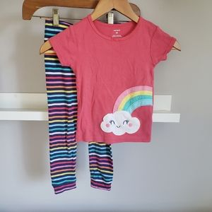 Carter's Pajama Set With Rainbows and Stripes 4T